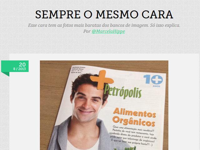 O modelo e dentista Rodrigo Ribeiro em uma capa de revista (Foto: Reprodução/Sempre o mesmo Cara)