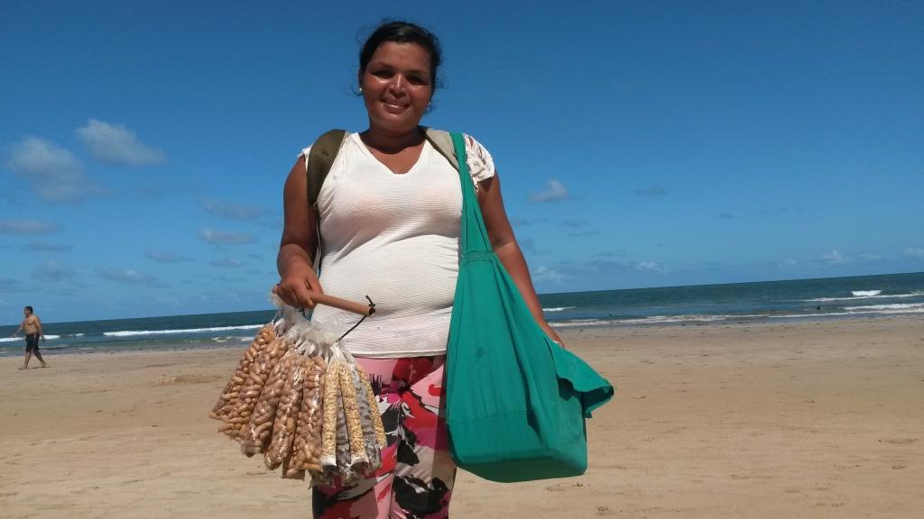 Roseli na praia de Boa Viagem