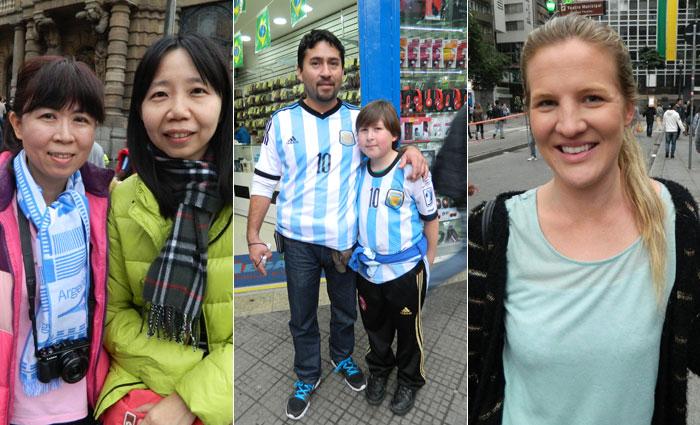 As taiwanesas Anne e Eileen, o argentino Cesar Herreira com seu filho Matias e a inglesa Samantha