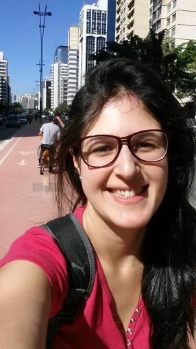 """Eu """"feliz da vida"""" na ciclovia da Paulista"""